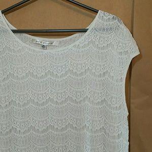Max Studio soft white lace crochet overlay top XL